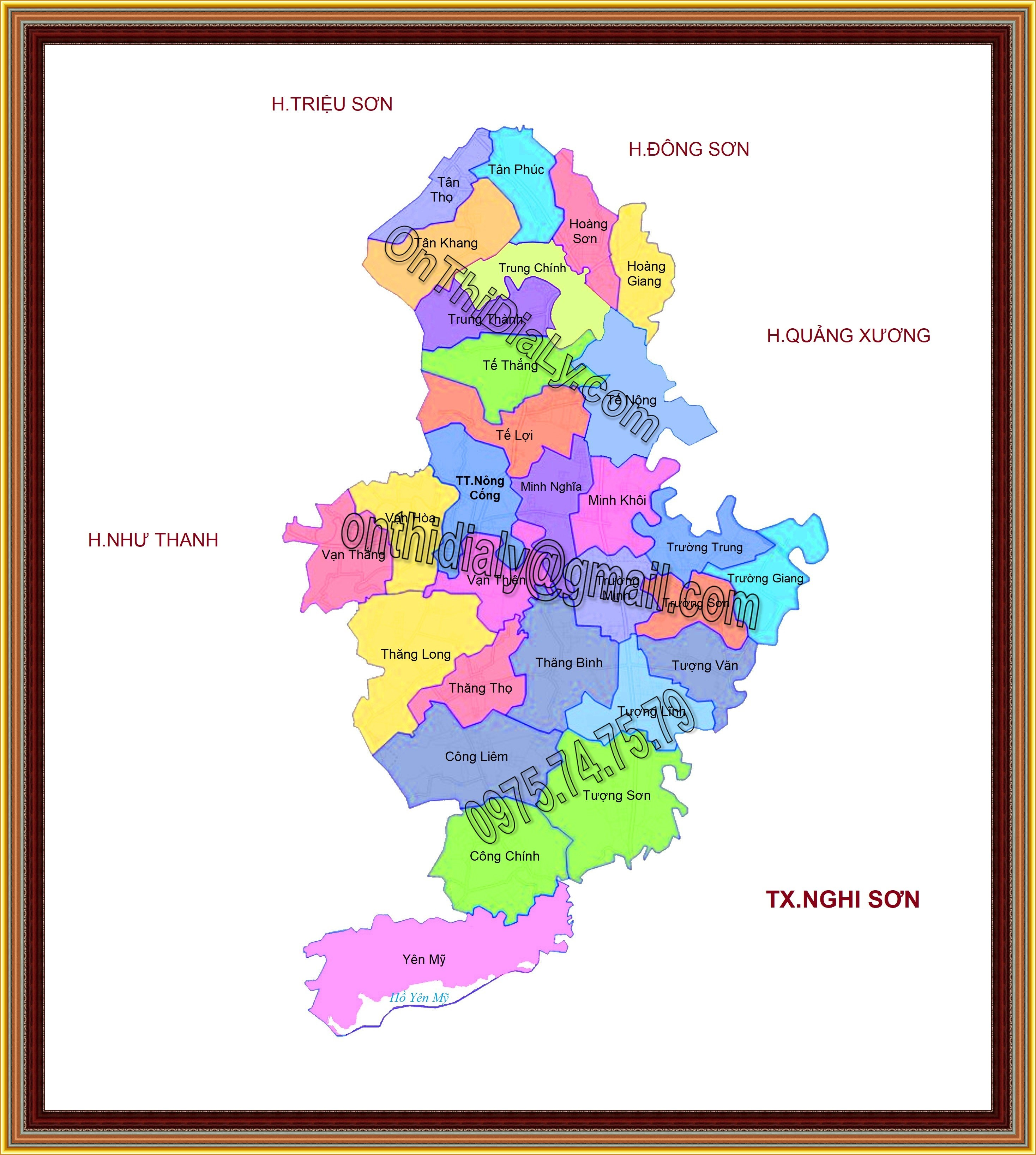 Bản đồ huyện Nông Cống, tỉnh Thanh Hóa