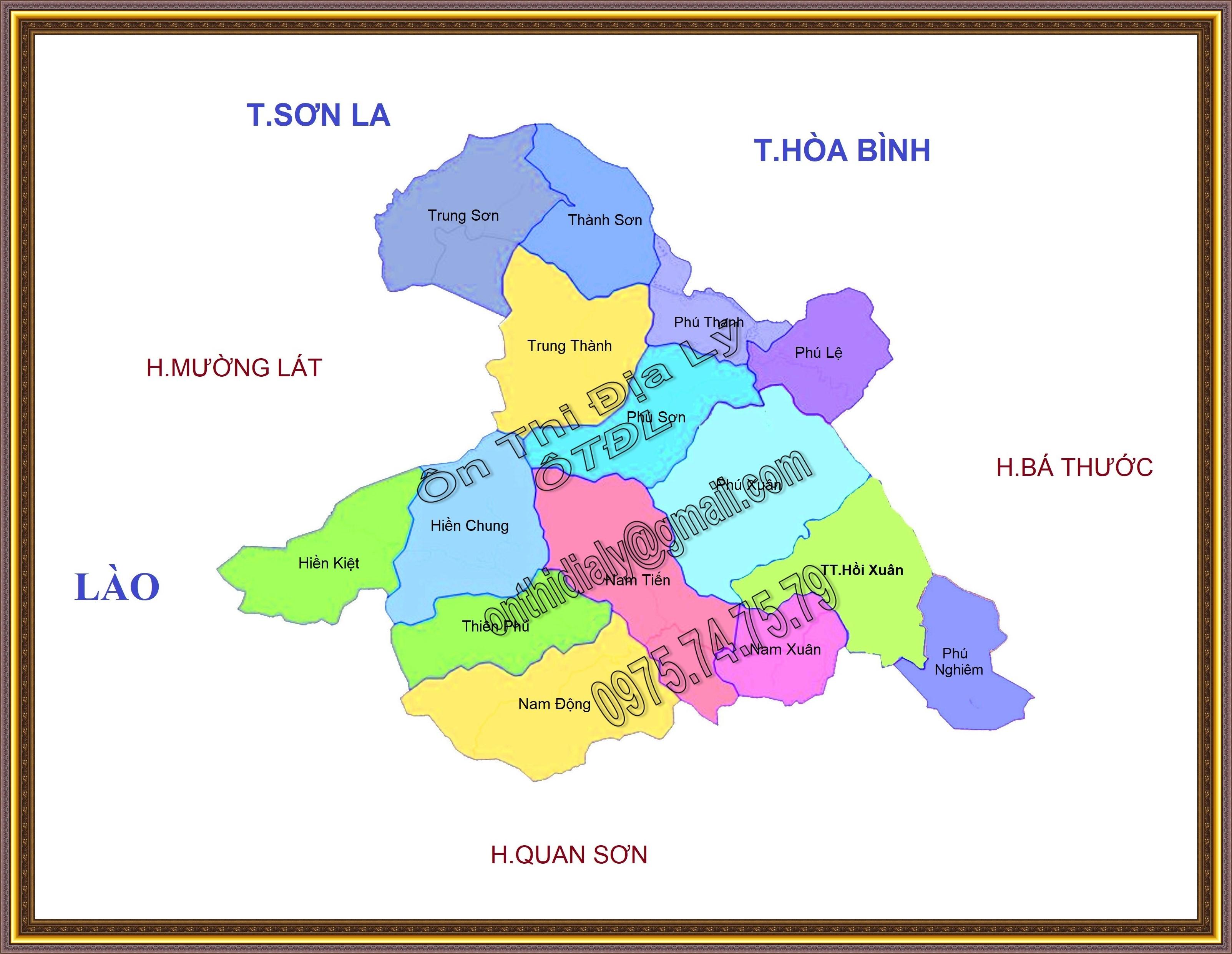 Bản đồ huyện Quan Hóa, tỉnh Thanh Hóa