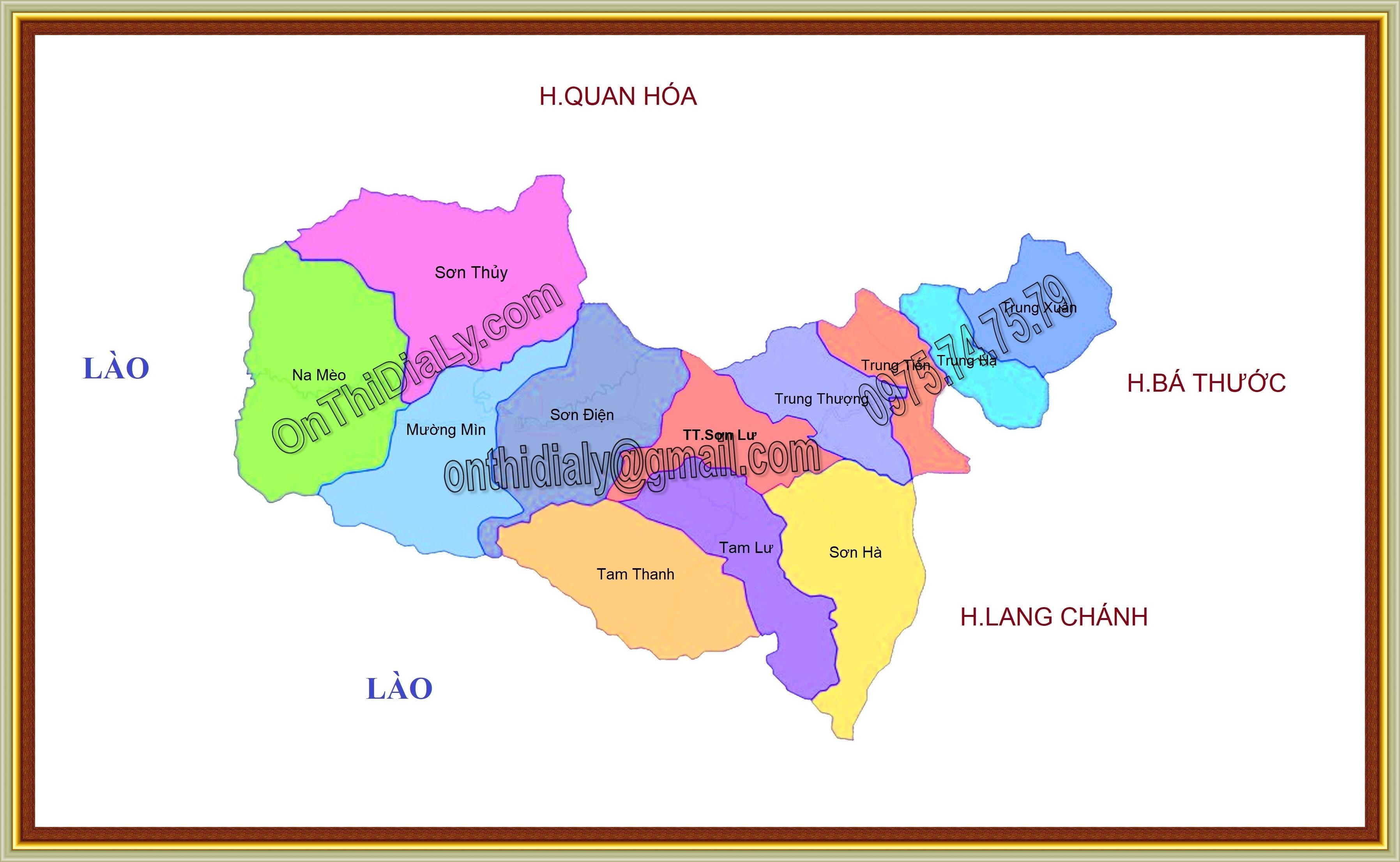 Bản đồ huyện Quan Sơn, tỉnh Thanh Hóa