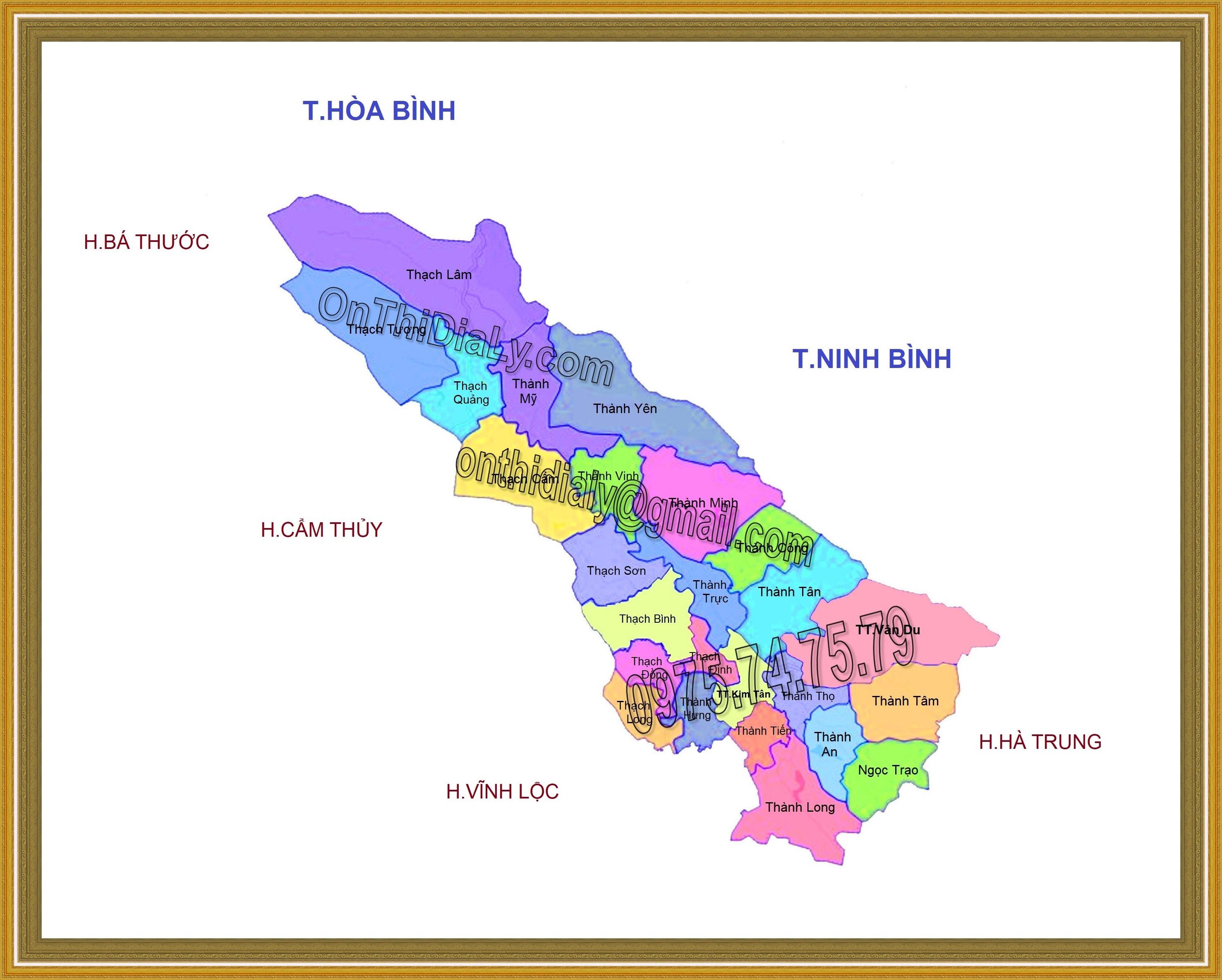 Bản đồ huyện Thạch Thành, tỉnh Thanh Hóa