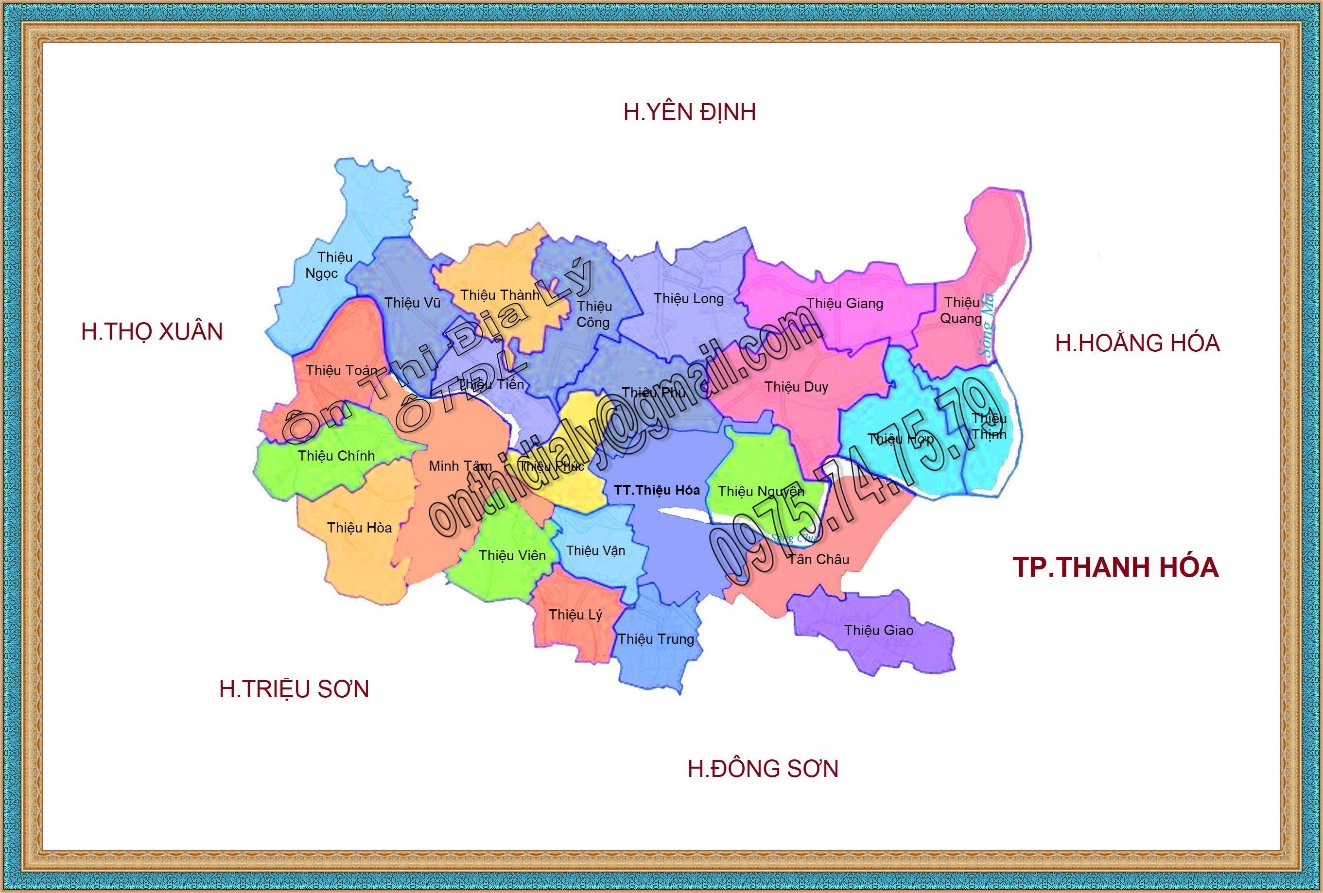 Bản đồ huyện Thiệu Hóa, tỉnh Thanh Hóa