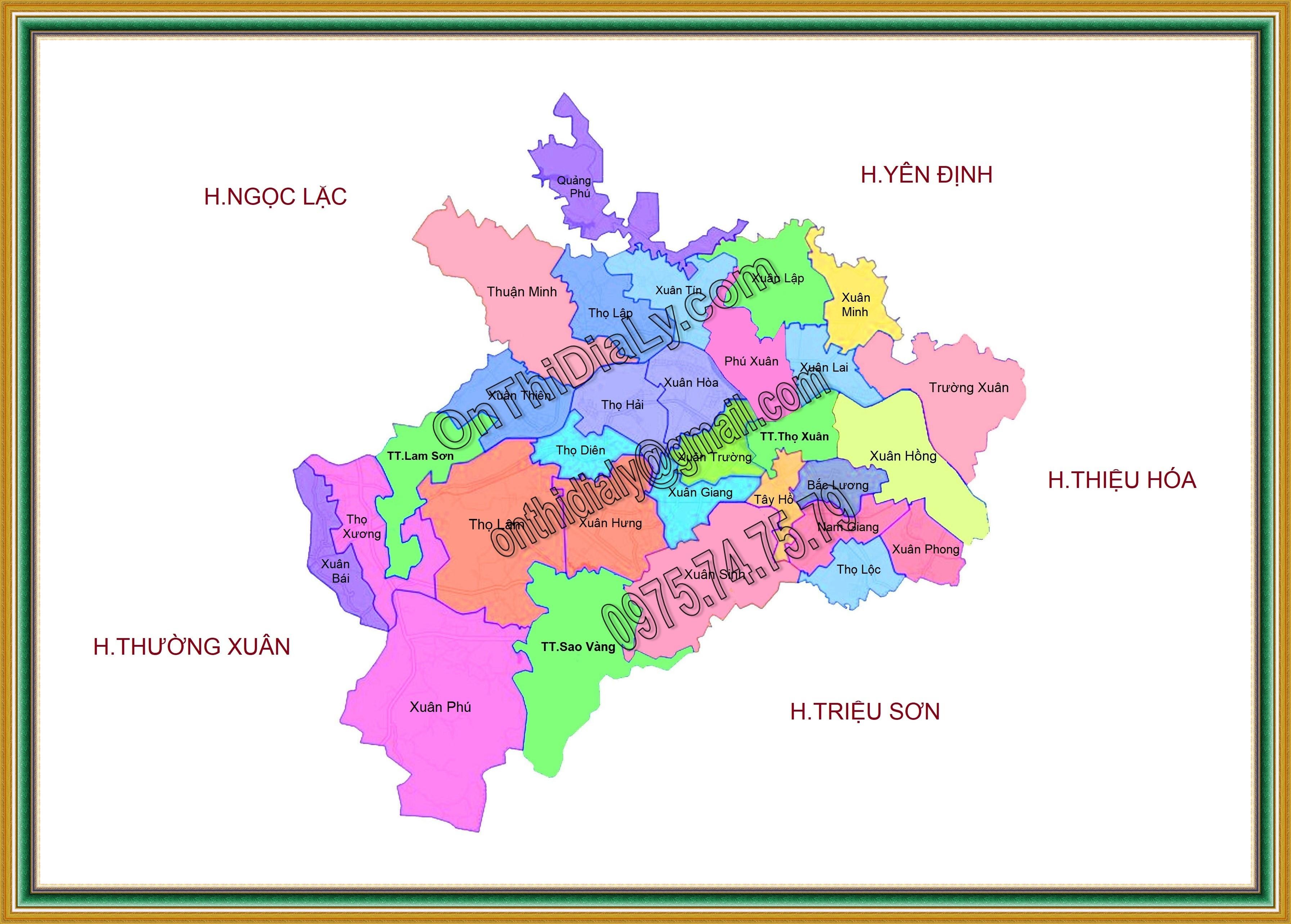 Bản đồ huyện Thọ Xuân, tỉnh Thanh Hóa