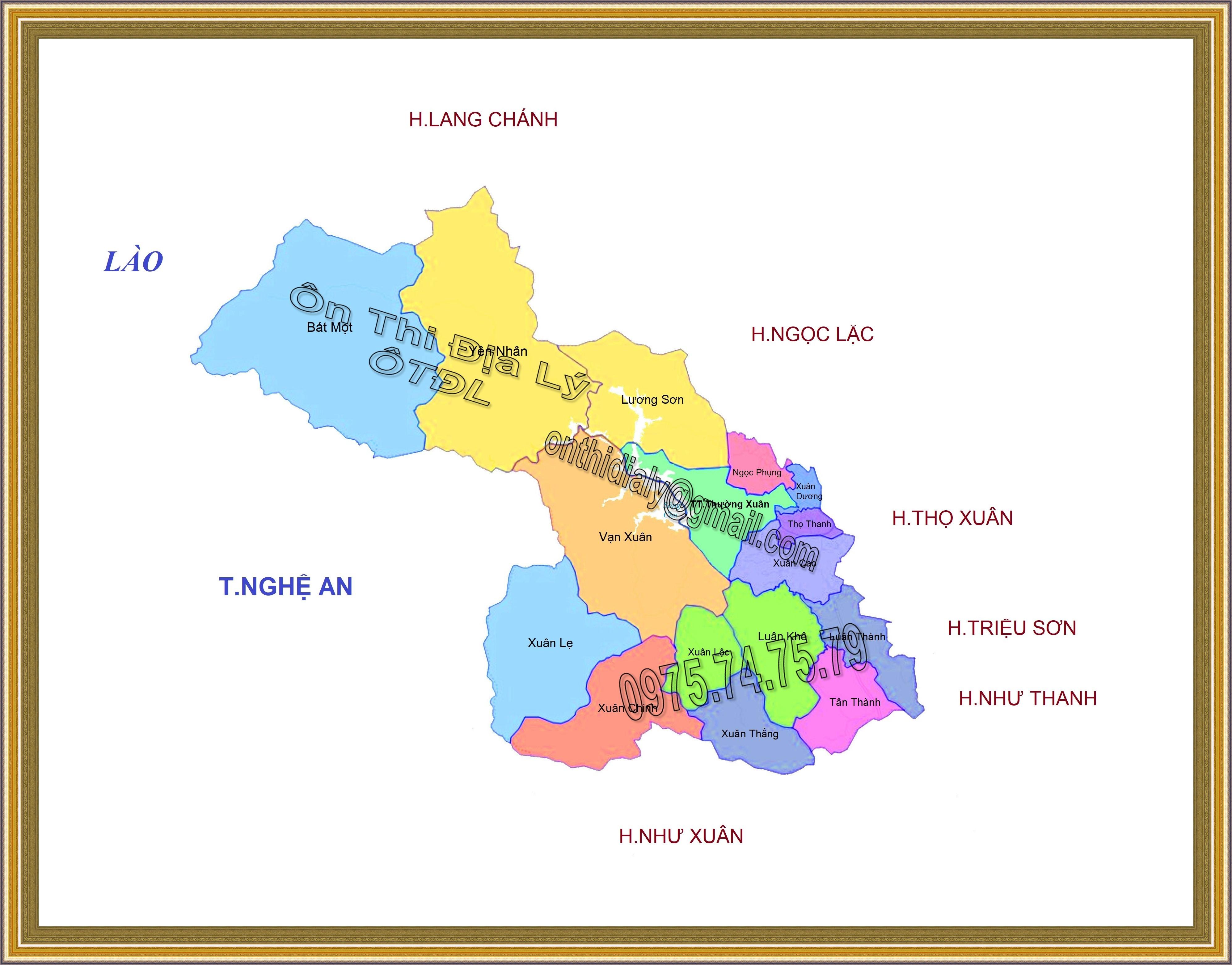 Bản đồ huyện Thường Xuân, tỉnh Thanh Hóa