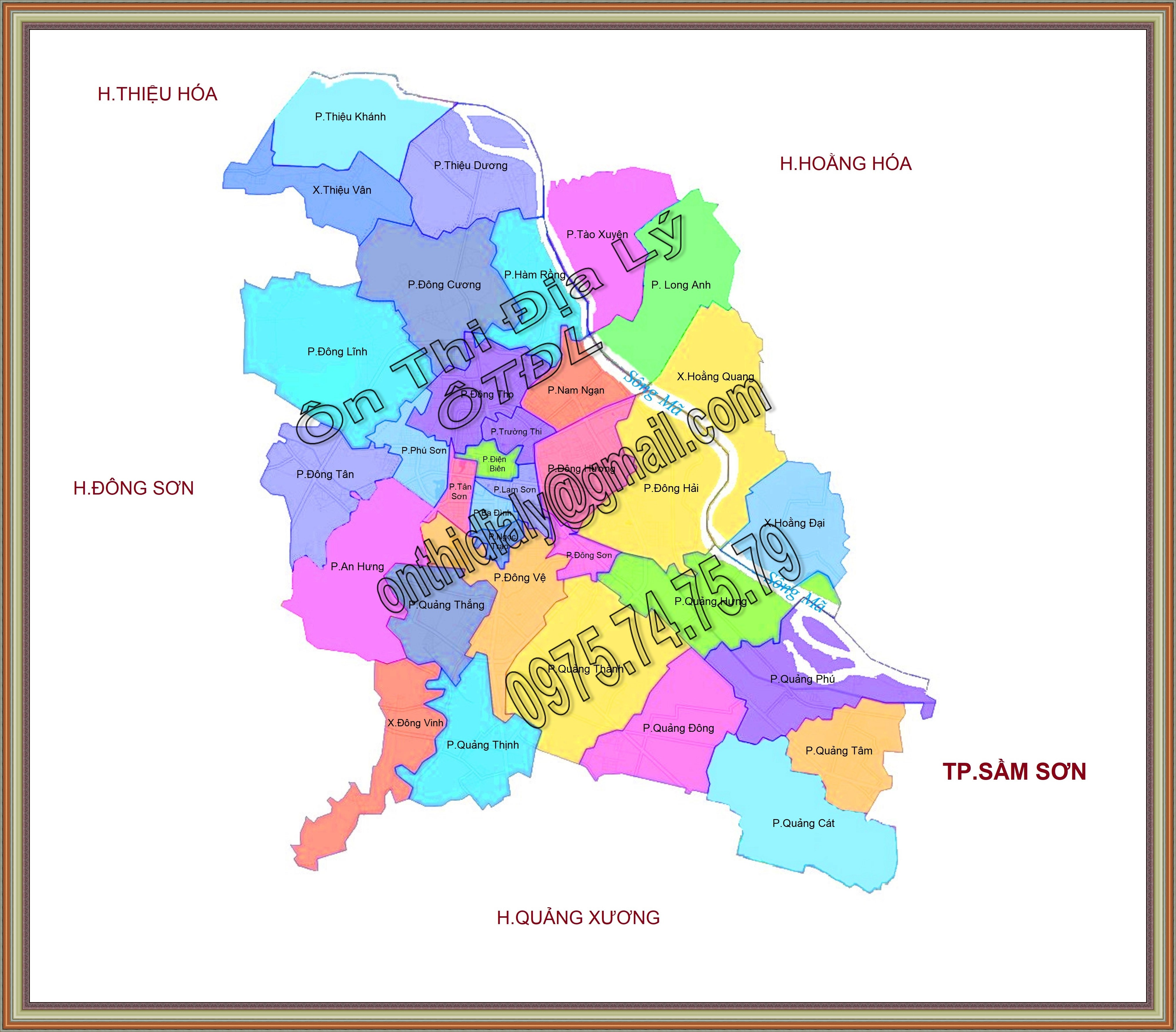 Bản đồ Thành phố Thanh Hóa, tỉnh Thanh Hóa