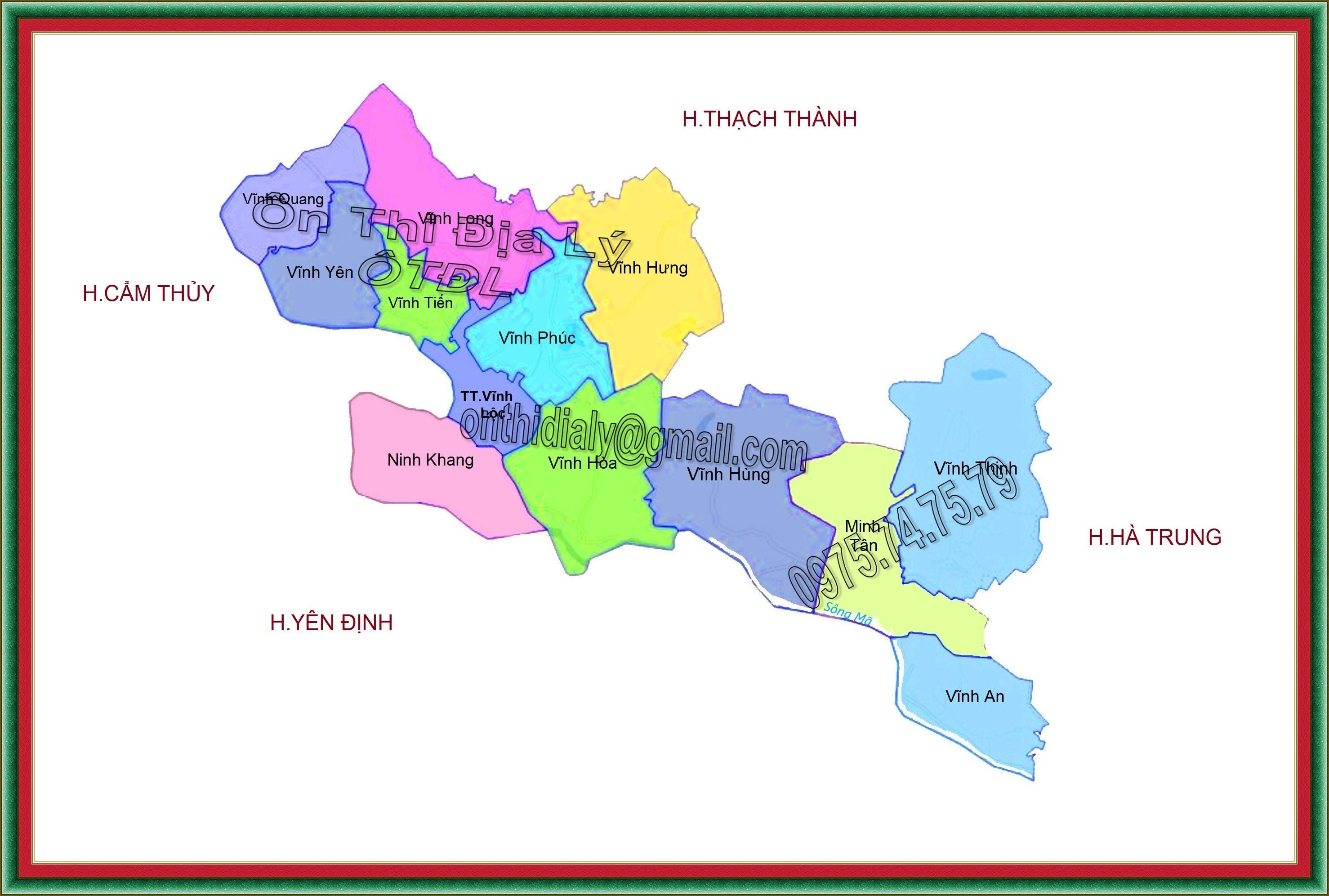 Bản đồ huyện Vĩnh Lộc, tỉnh Thanh Hóa