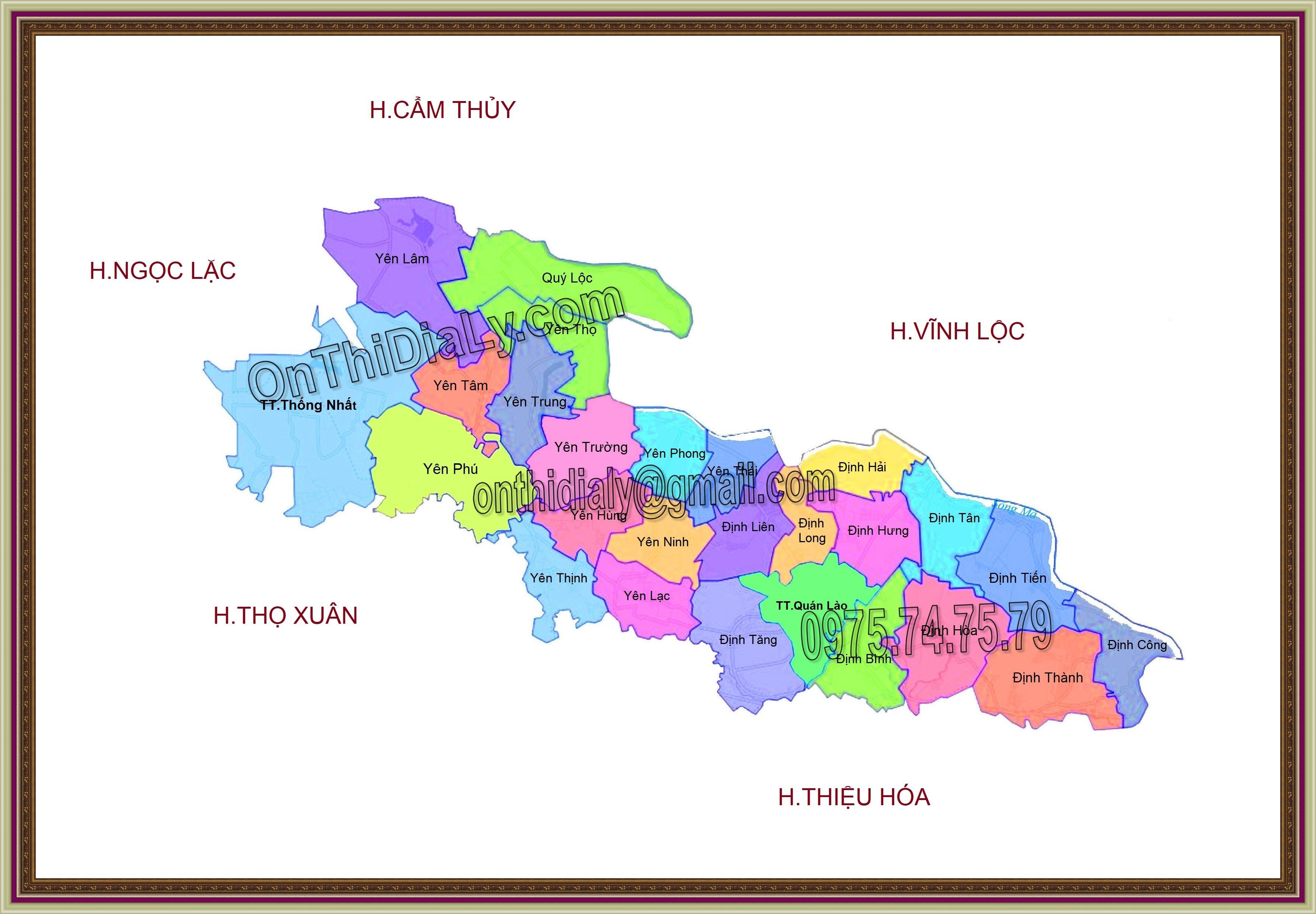 Bản đồ huyện Yên Định, tỉnh Thanh Hóa