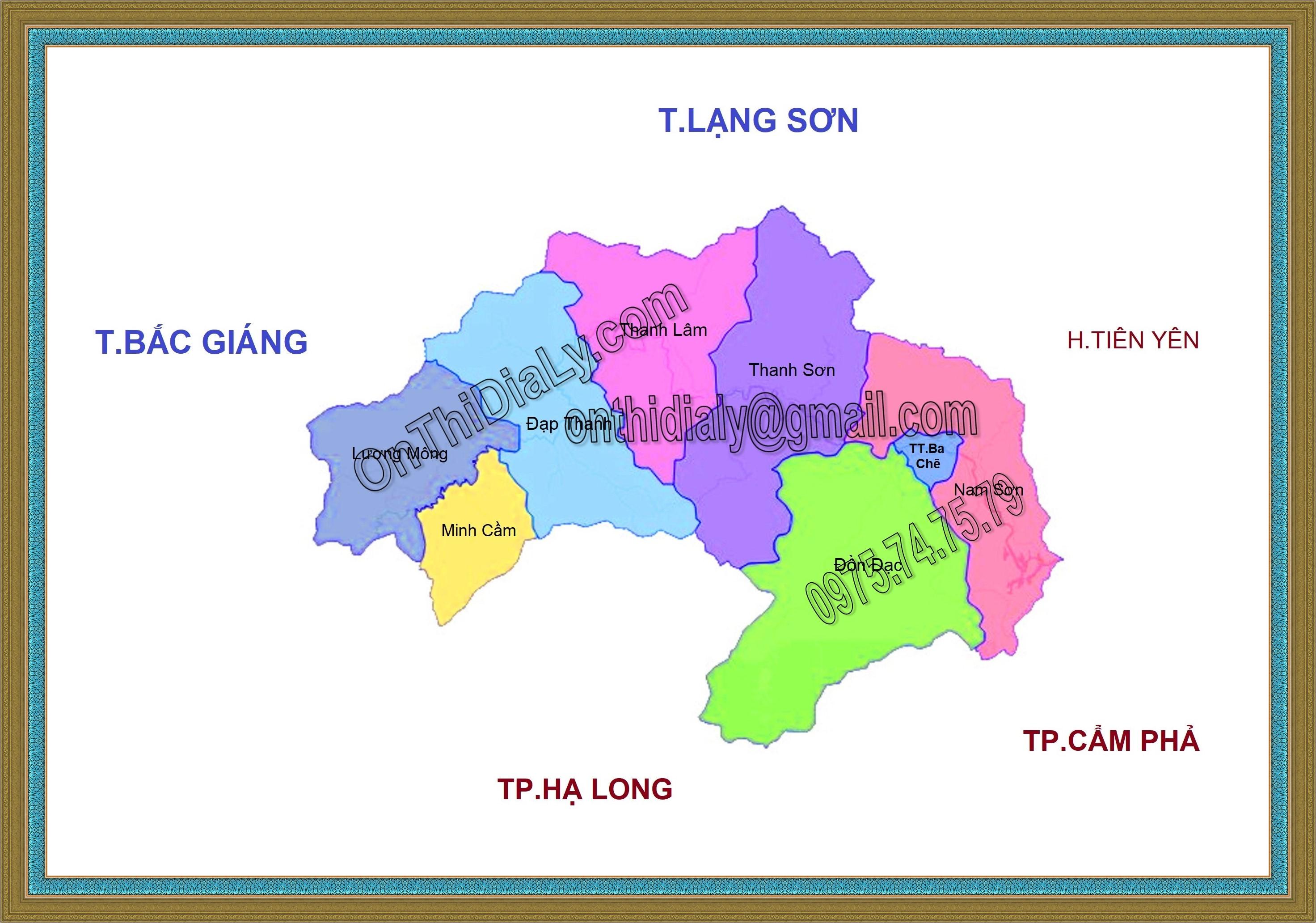 Bản đồ huyện Ba Chẽ, tỉnh Quảng Ninh