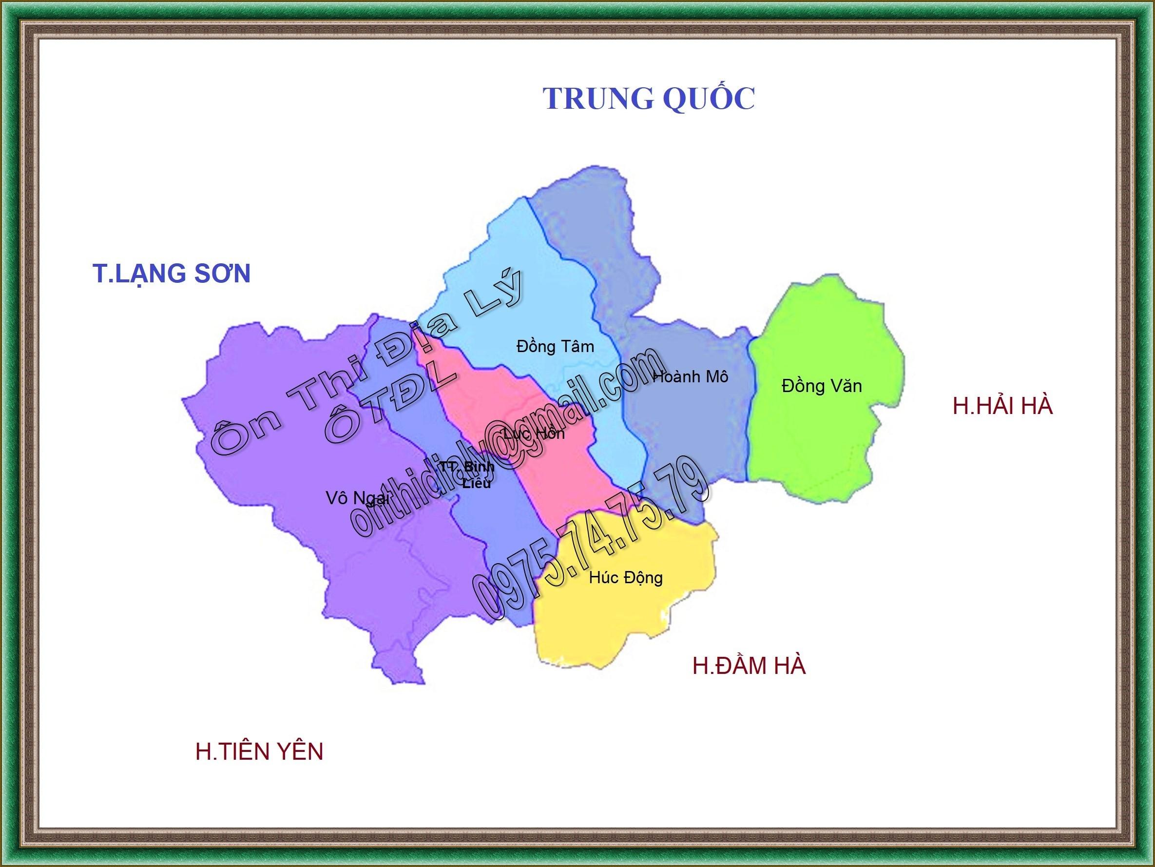 Bản đồ huyện Bình Liêu, tỉnh Quảng Ninh