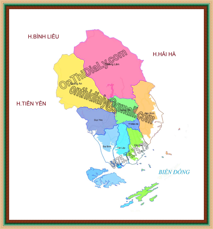 Bản đồ huyện Đầm Hà, tỉnh Quảng Ninh