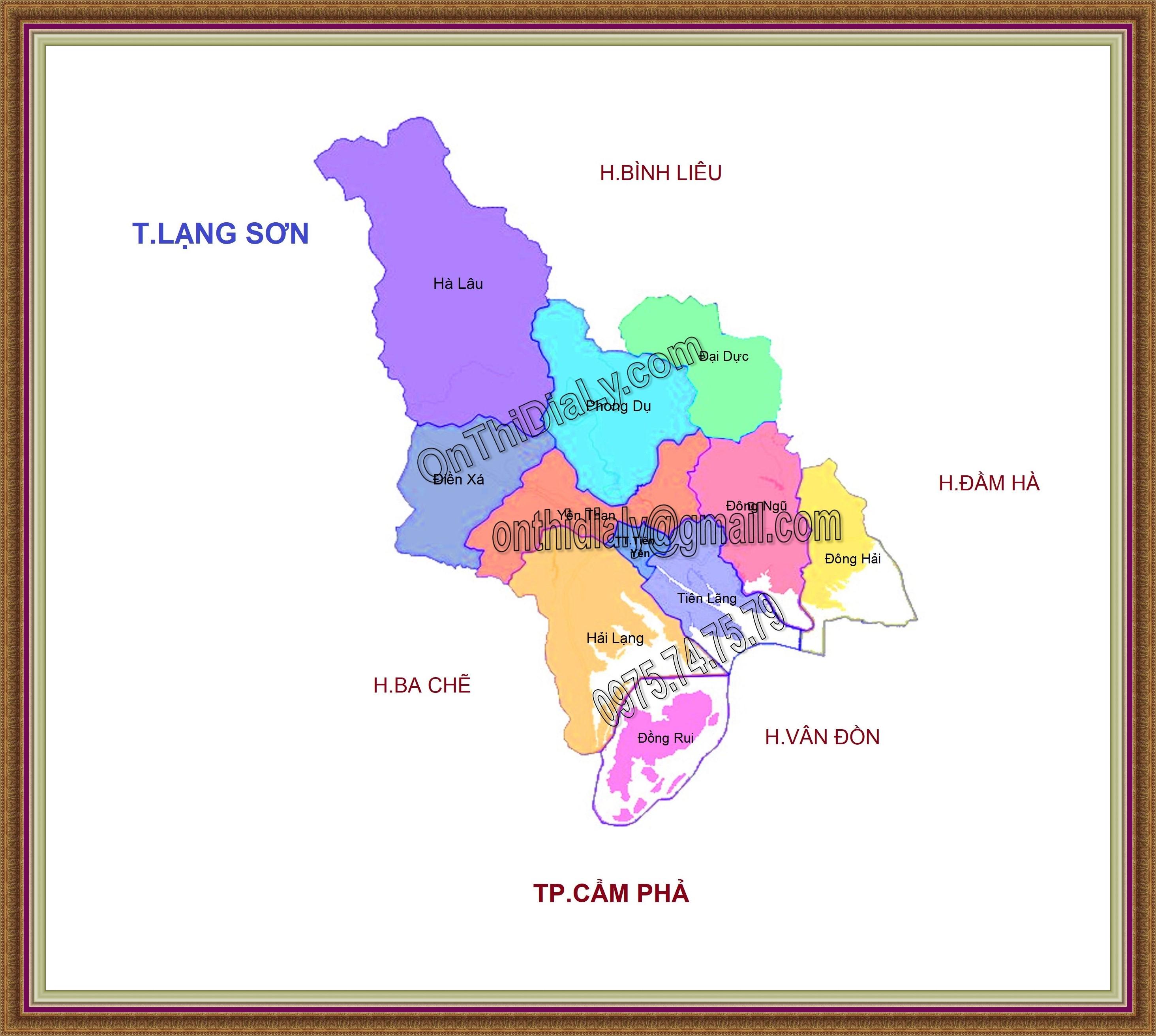 Bản đồ huyện Tiên Yên, tỉnh Quảng Ninh