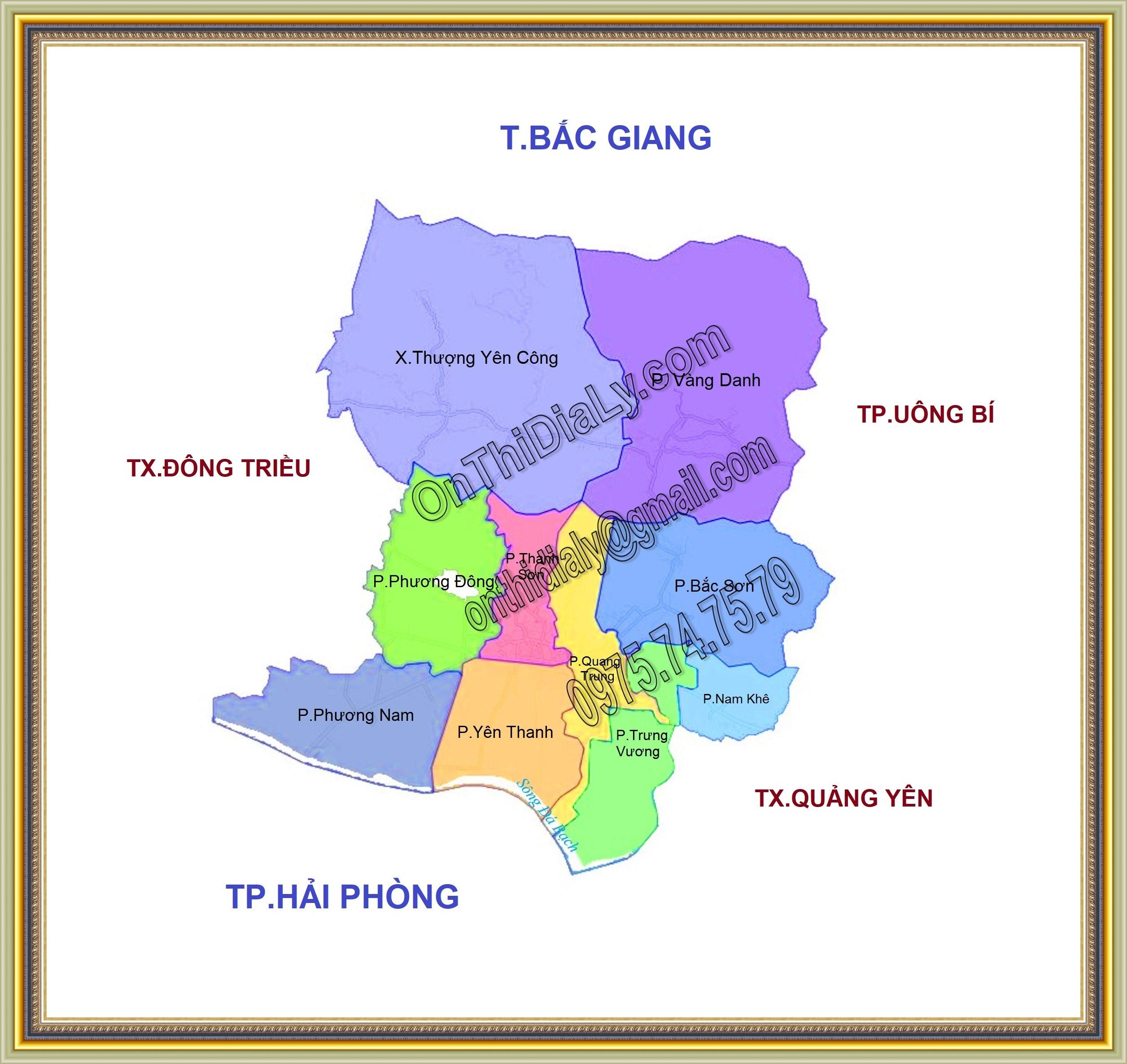 Bản đồ Thành phố Uông Bí, tỉnh Quảng Ninh