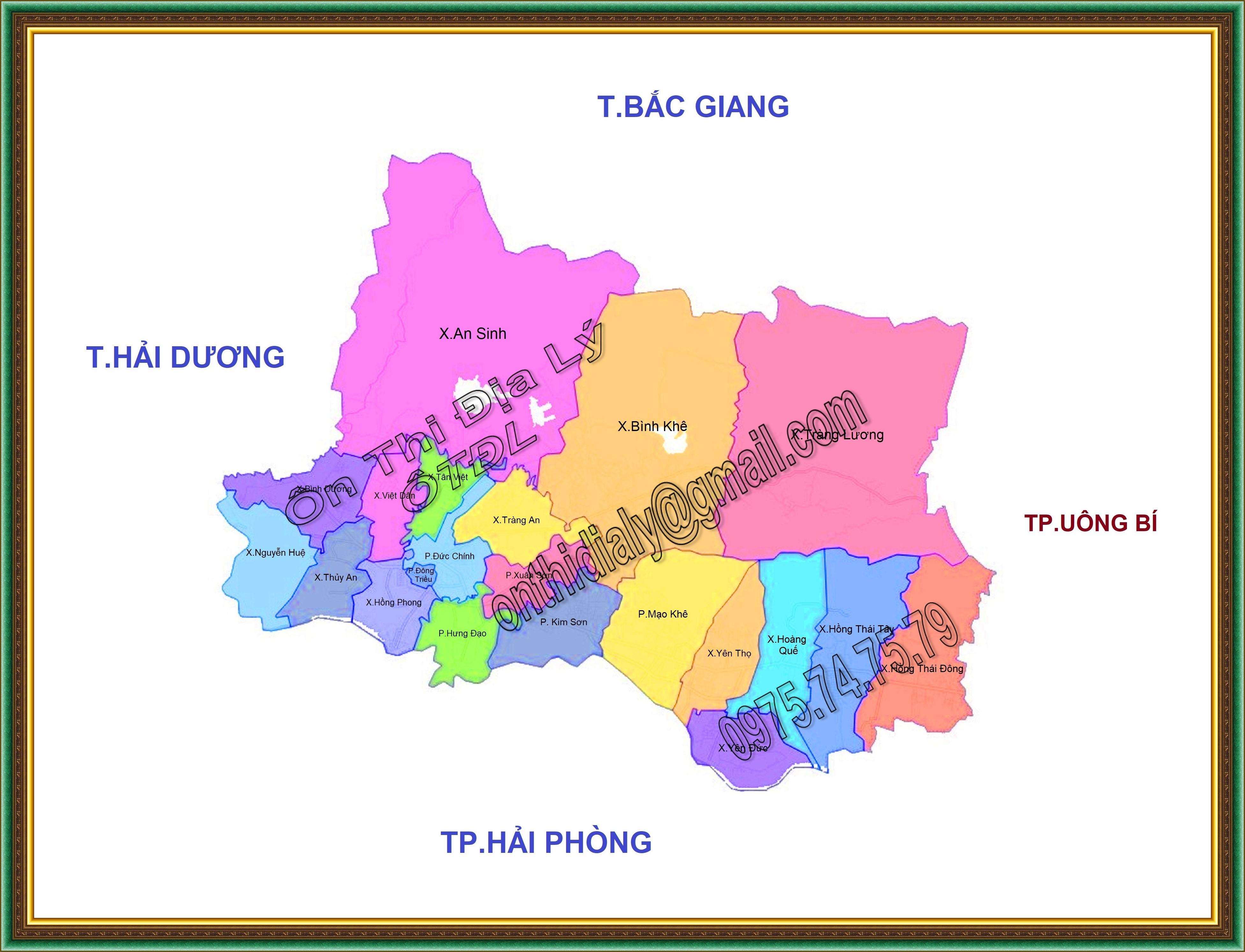 Bản đồ Thị xã Đông Triều, tỉnh Quảng Ninh